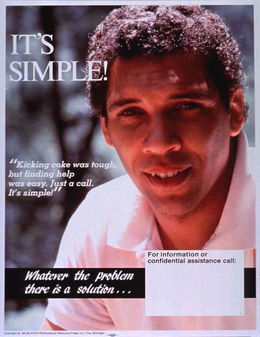 <p>Multicolor poster with white and black lettering.  Title near upper left corner.  Entire poster is a reproduction of a color photo showing a young man in a polo shirt.  Caption on left side, below title.  Note below caption.  Space near bottom of poster for contact information, though none given.  Publisher information at bottom of poster.</p>