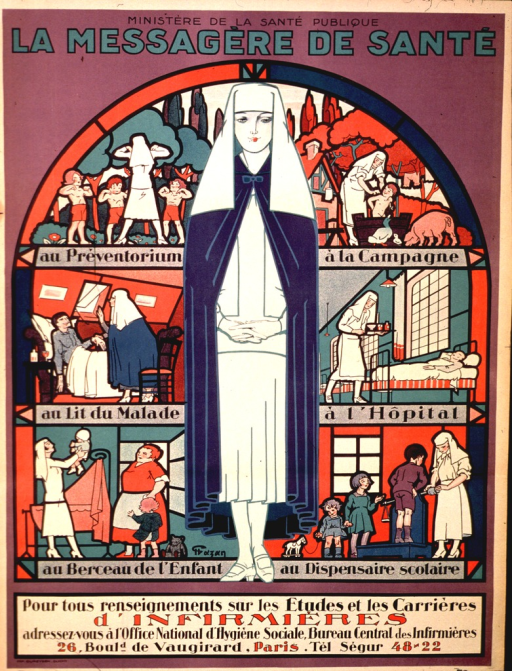 <p>Image shows a woman in a white nursing uniform consisting of a dress, stockings, shoes, and veiled head covering. She is wearing a blue cape over the dress. Behind her are several visual representations of the various aspects of nursing, arranged similar to a stain glassed window. The lower portion of the poster advises interested women on how to obtain further information on careers and education in nursing.</p>