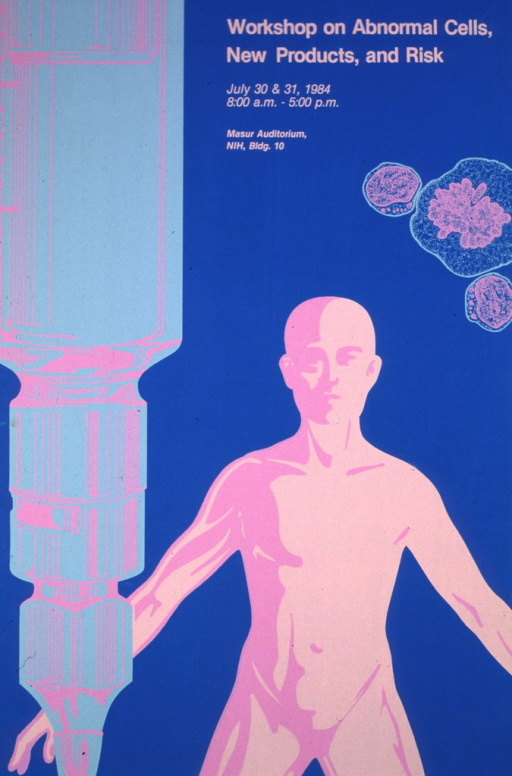 <p>The poster shows an oversize syringe along the entire left hand side, a human figure on the right, and several cancerous cells scattered above the head of the human figure.</p>
