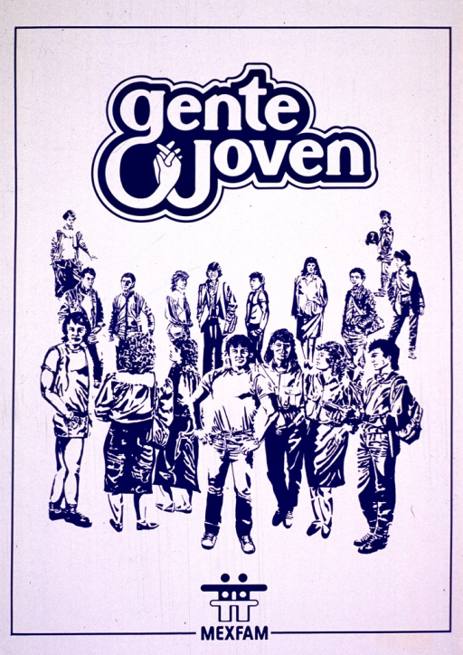 <p>Predominantly white poster with blue lettering. Image consists of a group of people (sketched in blue and white) standing and looking in various directions. The title is above the group and a MEXFAM logo is below them.</p>