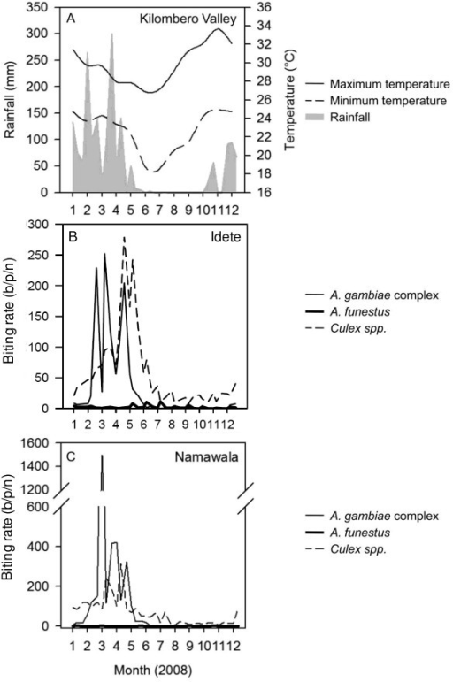 Weekly rainfall and temperature throughout the Kilombero Valley (A) and nightly biting rate of mosquitoes for Idete (B) and Namawala (C) estimated using the mean weekly CDC light trap catch adjusted by dividing by species-specific relative efficiency of 0.3, 0.68 and 0.59 for Anopheles gambiae complex, A. funestus and Culex spp. respectively [see [22]].