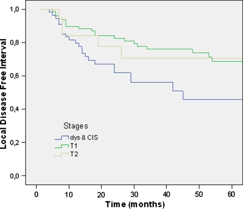 Local disease-free interval per T stage of neoplasms