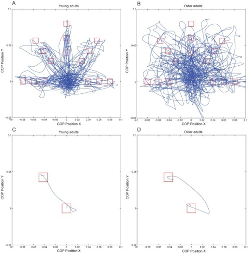 COP trajectories of one block of 45 experimental trials of a young subject (A) and an older subject (B) and COP trajectory of one experimental trial of a young subject (C) and an older subject (D); COP position in x direction is plotted against COP position in y direction.