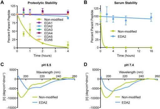EDA peptides are resistant to proteolytic degradation.Proteolytic stability was measured in the presence of (a) a cocktail of immobilized chymotrypsin and trypsin over a time range of 0–4 hours and (b) 50% mouse serum over a time range of 0–16 hours. (c, d) CD spectra of the non-modified and EDA2 peptides were obtained on a Jasco J-710 CD Spectrometer at 25°C in 10 mM sodium phosphate buffer at pH 6.5 and 7.4. EDA2 maintains its structure under both conditions.