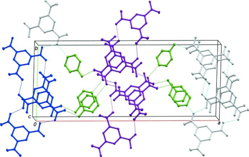 A view of (I) approximately along the crystallographic c axis. Color code: blue represents the (28) ring, purple the (44) ring, and green the bridging 4-hy­droxy­pyridinium cations.