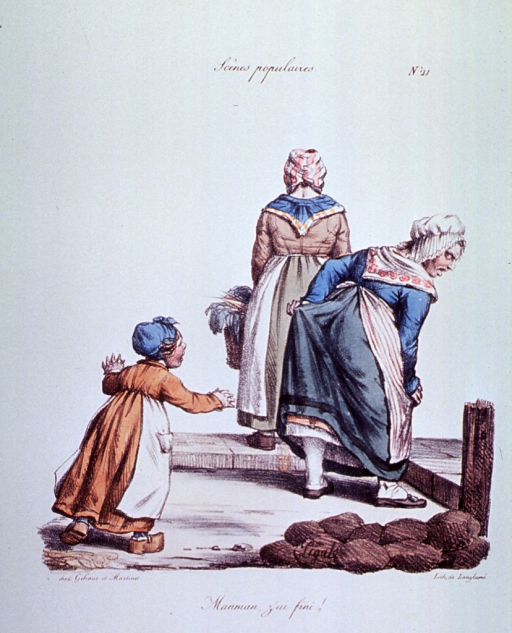 <p>Caricature:  A little girl is running towards her mother; the woman has her back to the child; another woman, also turned away, is standing holding a basket.</p>