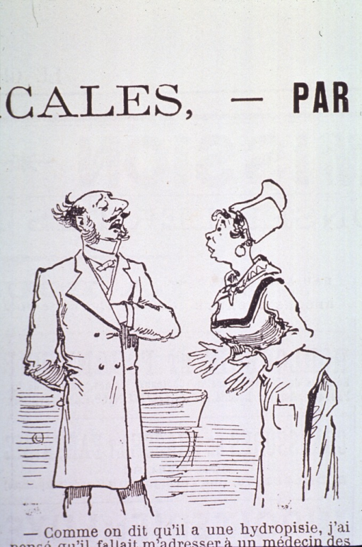<p>Caricature:  A physician talking to a woman.</p>