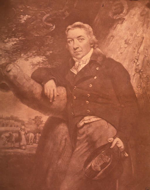 <p>Three-quarter length, left pose, full face; leaning against a tree; holding top hat; pastoral scene in background.</p>