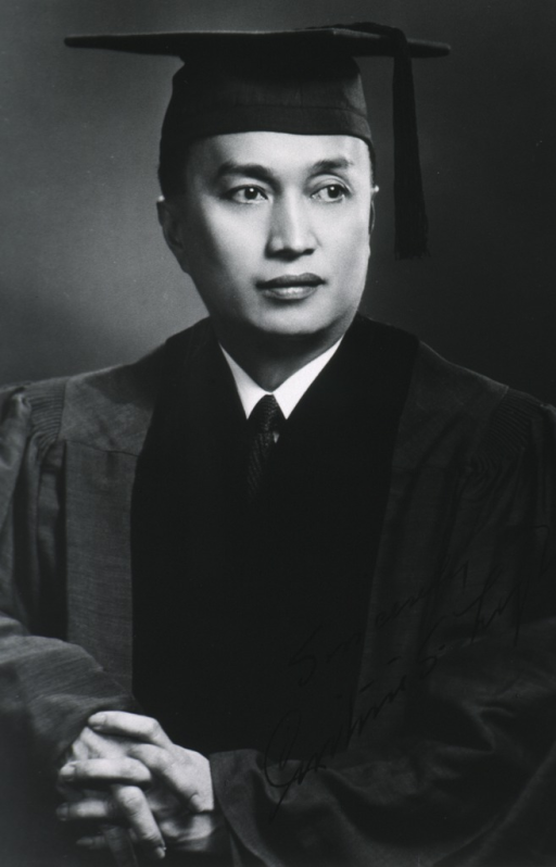 <p>Half-length, full face; hands together in front; wearing cap and gown.</p>
