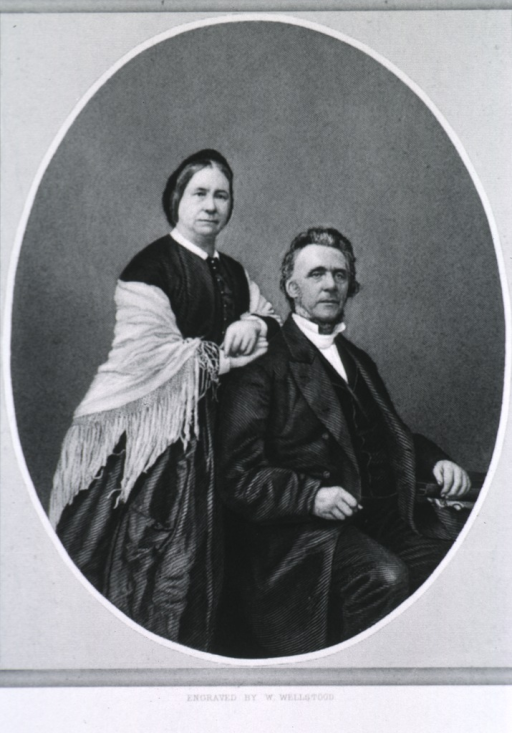 <p>The doctor seated, right pose; Mrs. Palmer in shawl standing with hands on his shoulders.</p>