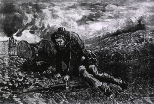 <p>Uncared for [scene of a wounded soldier on a battlefield, deserted].</p>