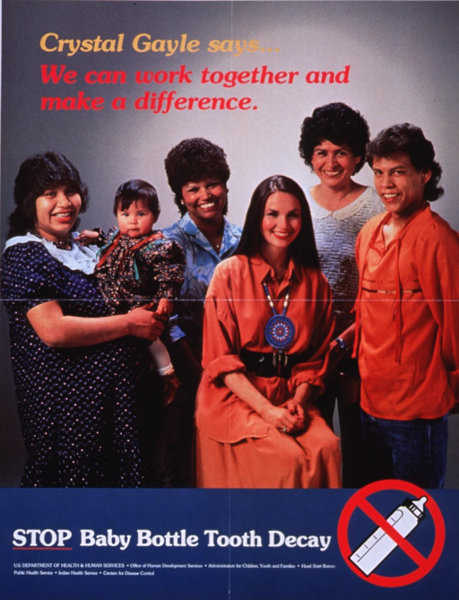 <p>Multicolor poster.  Title in upper left corner of poster.  Visual image is a reproduction of a color photo of singer Crystal Gayle sitting among a group of four adults and one infant.  Note below photo, along with an illustration of a baby bottle with a red &quot;do not&quot; sign.  Publisher information below note also lists six subordinate agencies of U.S. Dept. of Health and Human Services.</p>