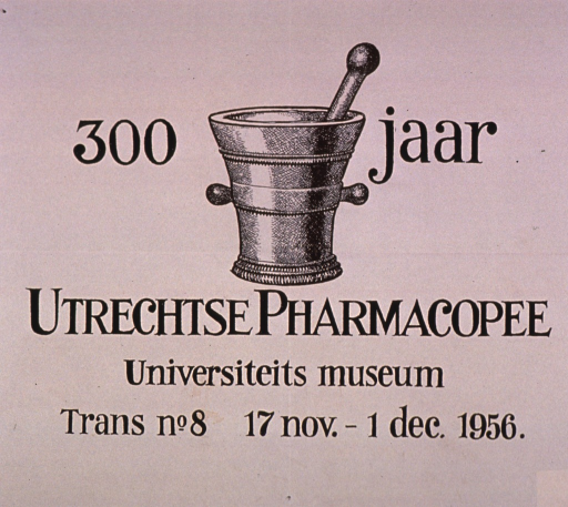 <p>Cream or discolored white poster with black lettering announcing an exhibit.  Title, exhibit location, and dates dominate poster.  Visual image is an illustration of a mortar and pestle.</p>