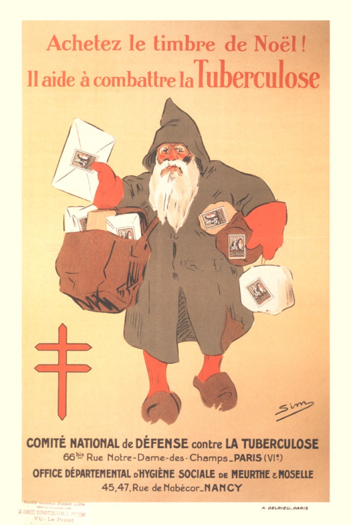 <p>A white-bearded man in a green coat and hood over red stockings and mittens is carrying many cards and packages.  Each card and package has a large stamp on it.  The double-barred red cross, Cross of Lorraine, is to the left of the man.</p>