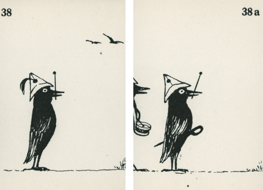 <p>A pair of strabismus diagnostic and exercise cards in black and white.  The card to the left, 38, has the image of a crow standing up with a paper hat on his head and a feather on the hat, holding a drum stick in its beak, with flying birds in the background; the card to the right, 38a, has the image of a crow standing up with a paper hat on his head holding a drum stick in its beak and wearing a sword, with a partial image of another crow behind him playing a drum.  Stereoskopische Bilder fur schielende Kinder.</p>
