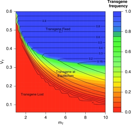 Equilibrium spawning population relative to the pure wild-type equilibrium population size (, black contour lines) and transgene frequency (AT) (colour shaded contours) as a function of relative transgenic age-1 viability (VT) and transgenic male mating advantage (mT) assuming no effect of background genetics on the transgene. Viability and mating advantage were scaled relative to wild type. Darkest blue shading indicates fixation of the transgene while dark orange indicates the transgene is lost. 90% of transgenic juveniles were assumed to smolt after 1 year in this scenario, while only 10% of wild juveniles smolted after 1 year. Relative improvement in juvenile survival at low density was set low (Ω = 2)