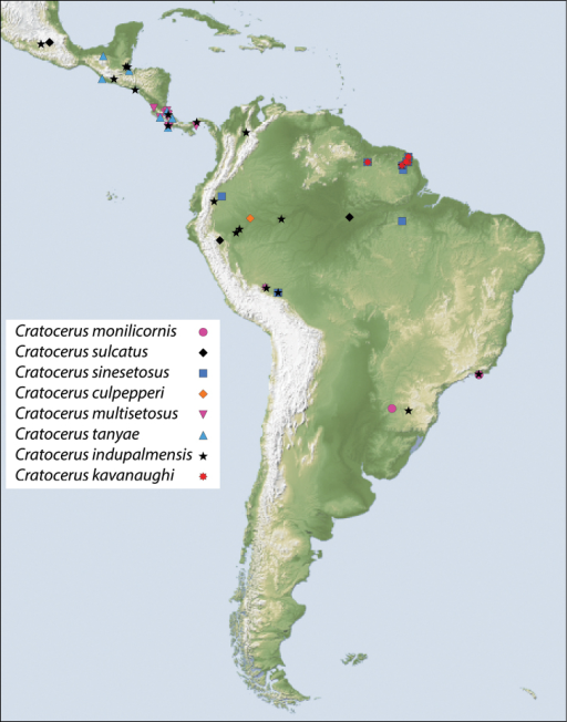 Map showing location of material examined for species of Cratocerus.