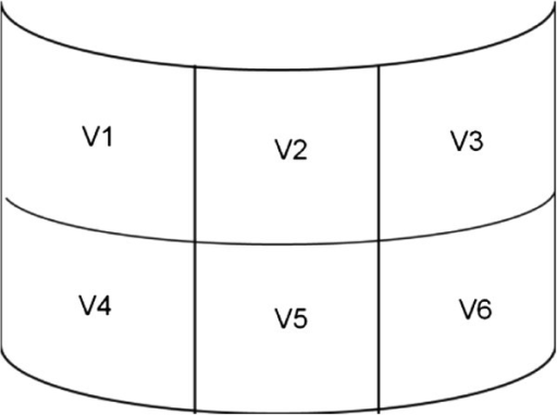 Segment locations for damage description (visor).