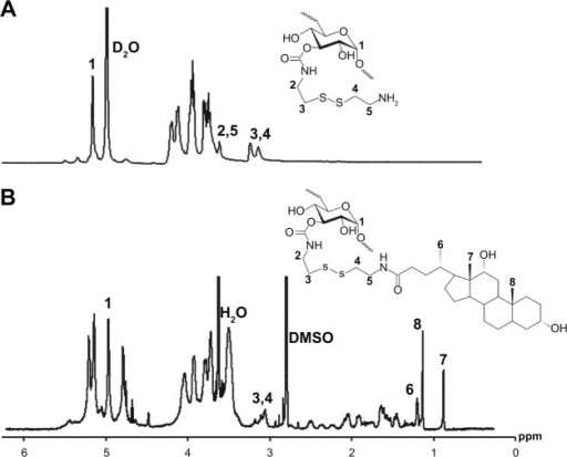 1H NMR spectrum of (A) Dex–SS–NH2 and (B) Dex10k–SS–DCA.Abbreviations: Dex–SS–NH2, dextran-cysteamine conjugate; Dex–SS–DCA, disulfide-linked dextran-deoxycholic acid conjugate; DMSO, dimethyl sulfoxide; ppm, parts per million; D2O, deuterium oxide.