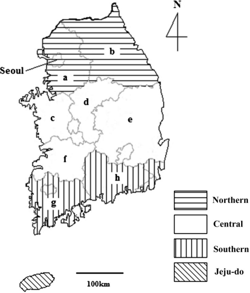 Regional map of the Republic of Korea showing the four study regions in which horseserum samples were collected for detection of the presence of anti-Toxoplasmagondii antibodies: northern (Seoul, Gyeonggi-do [a] and Gangwon-do [b]),central (Chungcheongnam-do [c], Chungcheongbuk-do [d], Gyeongsangbuk-do [e] andJeollabuk-do [f]), southern (Jeollanam-do [g] and Gyeongsangnam-do [h]) and Jeju-do.