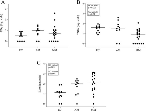 Cytokines levels in respect to clinical status. Plasma levels of IFN-γ (A) TNF (B) and IL-10 (C) in the EC, AM and MM groups at the day of hospitalization and before treatment.