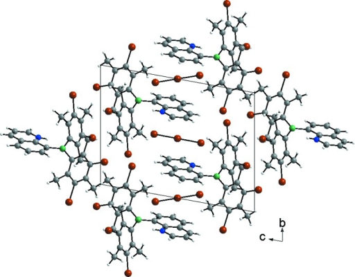 Packing diagram of bis­(3-bromo­mesit­yl)(quinolin-1-ium-8-yl)boron(III) tribromide in the crystal (C: gray, H: white, B: green, N: blue, Br: brown)