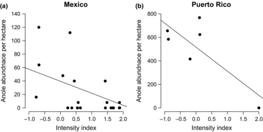 (a) Variation in anole abundance along a gradient of intensity in Mexico (R2 = .278, p = .006) and (b) Puerto Rico (R2 = .539, p = .059)
