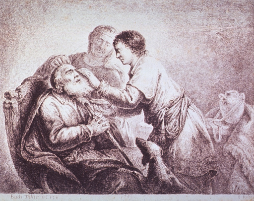 <p>In an interior scene, the angel Raphael cures Tobias of blindness.</p>
