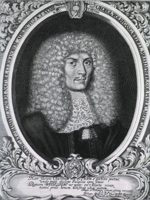 <p>Head and shoulders, long broad wig; face front; coat-of-arms.</p>