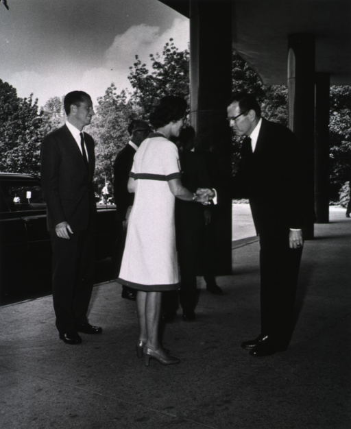 <p>Dr. Robert M. Farrier welcomes the King and Queen of Belgium to the Clinical Center.</p>