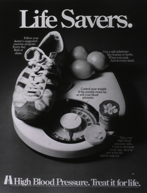 <p>A running shoe, three eggs, and an opened bottle of high blood pressure pills sit on top of a body scale.</p>