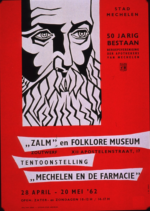 <p>Predominantly red poster with black lettering announcing an exhibit about pharmacy in Mechelen, held in Apr. and May 1962.  Visual image is an illustration of a man's face.  Note text to right of illustration announces the 50th year of the Apothecaries' Trade Association of Mechelen.  Title below illustration.  Exhibit dates and publisher information at bottom of poster.</p>
