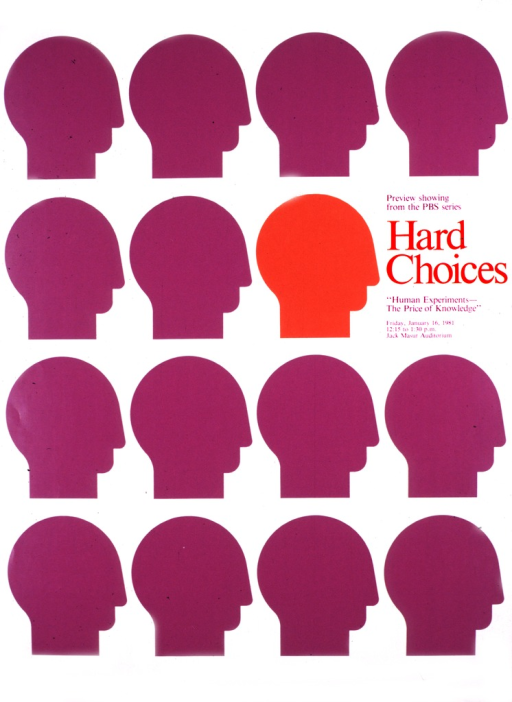 <p>Several rows of profiles of the human head, all in purple except for one in orange.</p>