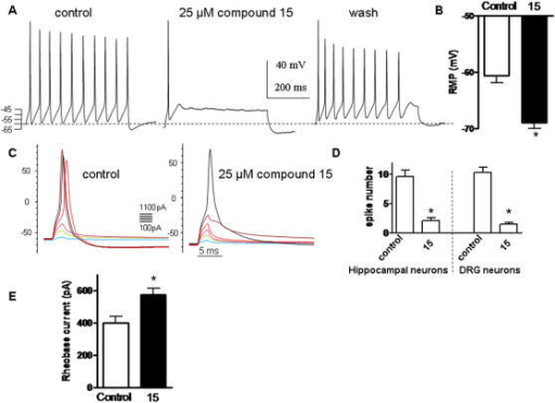 Compound 15 inhibits firing of hippocampal and peripheral DRG neurons.(A) Representative rat hippocampal spiking discharge, evoked by a squared depolarizing current pulse (100 pA for 400 msec) before (control), during exposure to 25 µM compound 15 and after washout (wash). (B) Resting membrane potential of DRG neurons before (control) and following exposure to 25 µM compound 15 (n = 13; * p<0.01). (C) Representative solitary spike evoked in DRG neurons by 2 ms squared depolarizing current pulses (100–1100 pA in 100 pA increments) in the absence (control) or presence of 25 µM compound 15. (D) Number of spikes evoked by injecting squared depolarizing current pulses (75–200 pA for 400 ms) in hippocampal and DRG neurons in the absence and presence of 25 µM compound 15 (n = 8; * p<0.01). (E) Rheobase current necessary to inject (2 ms) into DRG neurons to evoke a solitary spike in the absence and presence of 25 µM compound 15 (n = 12; * p<0.01).