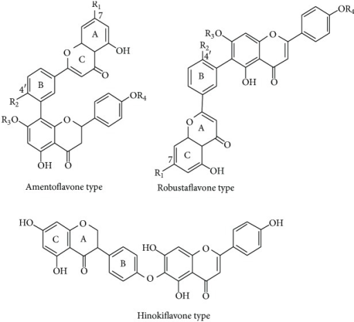 Chemical structures of bioflavonoids in Selaginella doederleinii.