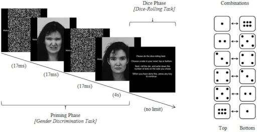 "Schematic of one trial of the task paradigm. Subjects first performed the gender discrimination task, during which they were primed subliminally with a facial image with either a disgust or neutral expression. They then mentally selected ""top"" or ""bottom"" before rolling a physical die and writing down the outcome (which may not have been the true outcome of their decision)."