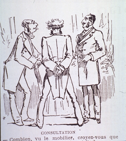<p>Caricature:  Three physicians standing together discussing the ability of patients to render payment.</p>