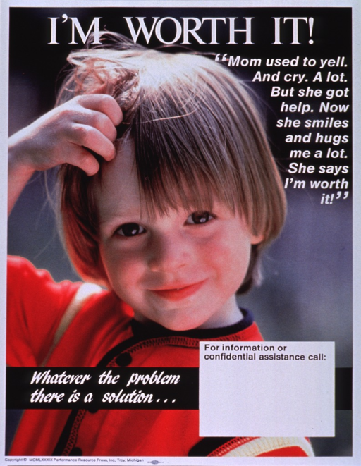 <p>Multicolor poster with white lettering.  Title at top of poster.  Entire poster is a reproduction of a color photo of a young child who smiles and tugs at its hair.  Caption below title on right side of poster.  Note near lower left corner.  Blank space for contact information near bottom of poster, though none given.  Publisher information at bottom of poster.</p>