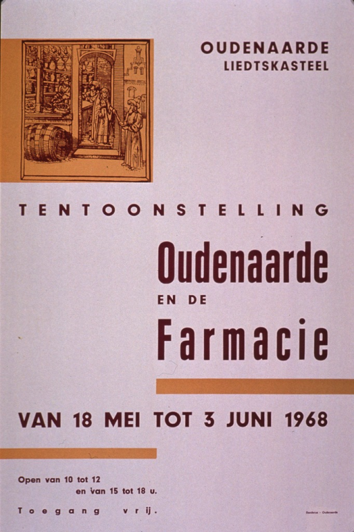 <p>Predominantly white poster with purple lettering announcing an exhibit held May-June 1968.  Exhibit location in upper right corner.  Visual image is a reproduction of a woodcut that depicts a pharmacy from the Middle Ages or early Renaissance.  Title and exhibit dates below illustration.</p>