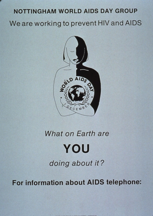 <p>Green poster with black lettering, illustrated with a drawing of an androgynous person, half of whose body is black and whose chest is marked with the World AIDS Day logo and the December 1 date.</p>