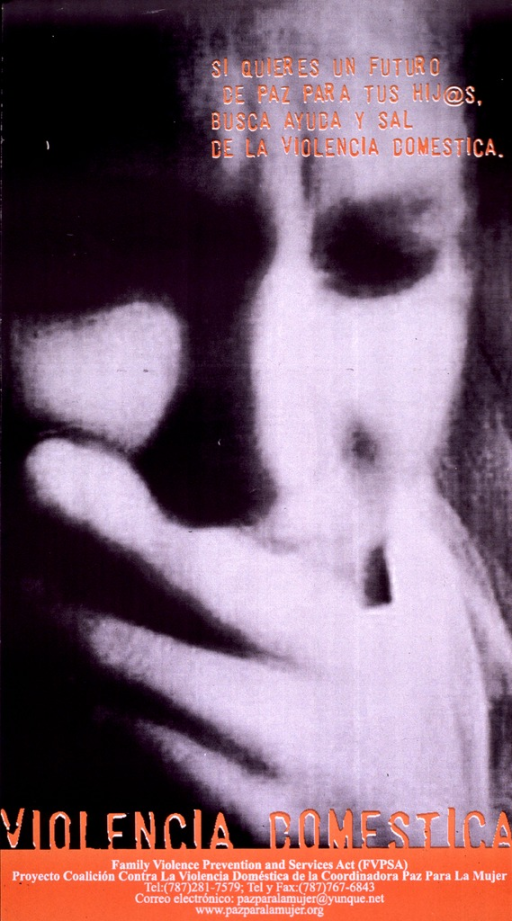 <p>Poster has black and white photograph with orange and white lettering. Face of woman in emotional distress (has hand over her mouth) dominates the poster. The image is blurry. Subtitle is at top of poster, the poster title is near the bottom. Information about the publishing organization (phone number, etc.) is at very bottom.</p>
