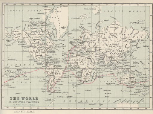 <p>Image of map from Journal of researches into the natural history and geology of the countries visited during the voyage of H.M.S. Beagle round the world. New York : Appleton, 1898. Map is titled &quot;The world on Mercator's projection&quot; by William Shawe, F.R.G.S., with Darwin's route on the H.M.S. Beagle delineated in red.</p>