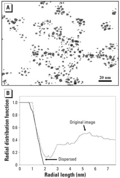 "(A) Contrast-enhanced, sharpened, and segmented version of a TEM of a TiO2 nanoparticle suspension (modified from Grassian et al. 2007). (B) Radial distribution function versus radial distance for a representative point in a nanoparticle in (A); the dashed line indicates values for the ""original image"" [Figure 2A from Grassian et al. (2007)] and the solid line represents a similar point in an image where the nanoparticles are artificially dispersed."