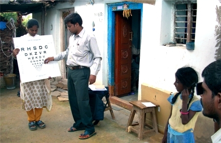 Vision testing by a community eye care team. INDIA