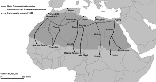 Routes for trans-Saharan slave trade. Adapted from Segal (2002) and Lovejoy (1983).