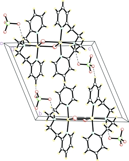 The packing arrangement viewed down the a axis showing the intramolecular N—H···O and intermolecular C—H···O interactions (dashed bonds).