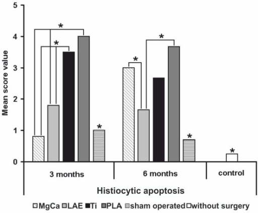 Score values of histiocytic apoptosis for all examined groups (* = p < 0.05). Three months: PLA and Ti showed significant higher values than MgCa, LAE, sham operated and control group; Six months: MgCa showed a distinct increase, the values for PLA, Ti, LAE and for the sham operated group decreased. MgCa = MgCa0.8, LAE = LAE442, PLA = poly-96L/4D-lactide, Ti = TiAl6V4, sham operated = surgery without implant material, control = no surgery on the limb.