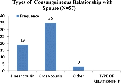 Types of consanguineous relationship with spouse (N = 57)