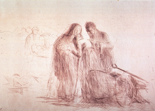 <p>A nun and another person are assisting an old woman on crutchers; a wheeled cart is in the foreground.</p>