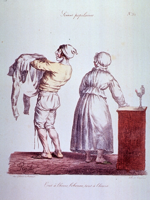 <p>Caricature:  Preparing for bedtime; a woman wearing nightclothes and a man putting on his nightshirt.</p>